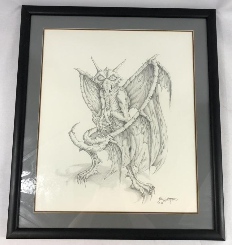 Lot 163: Tales from the Darkside: The Movie (1990) - Original Gargoyle Concept Art (25x22) by Robert Kurtzman