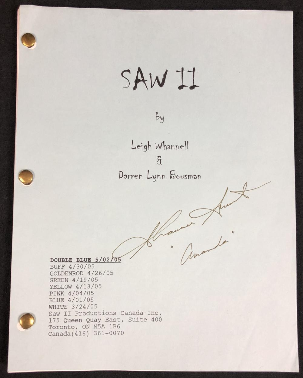 Lot 21: Saw II (2005) - Shawnee Smith (Amanda) Signed Script