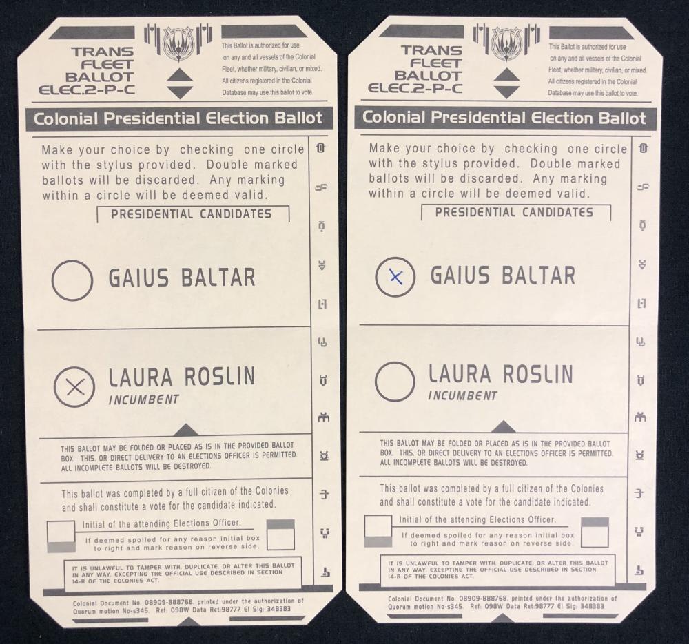 Lot 45: Battlestar Galactica (2004–2009) - Set of Baltar & Roslin Ballot Cards