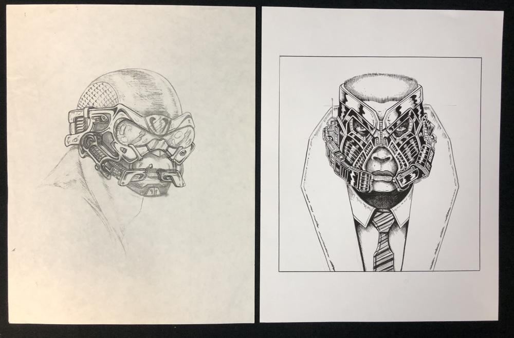 Lot 52: M.A.N.T.I.S. (1994) - 2 Production Used Concept Artwork Prints