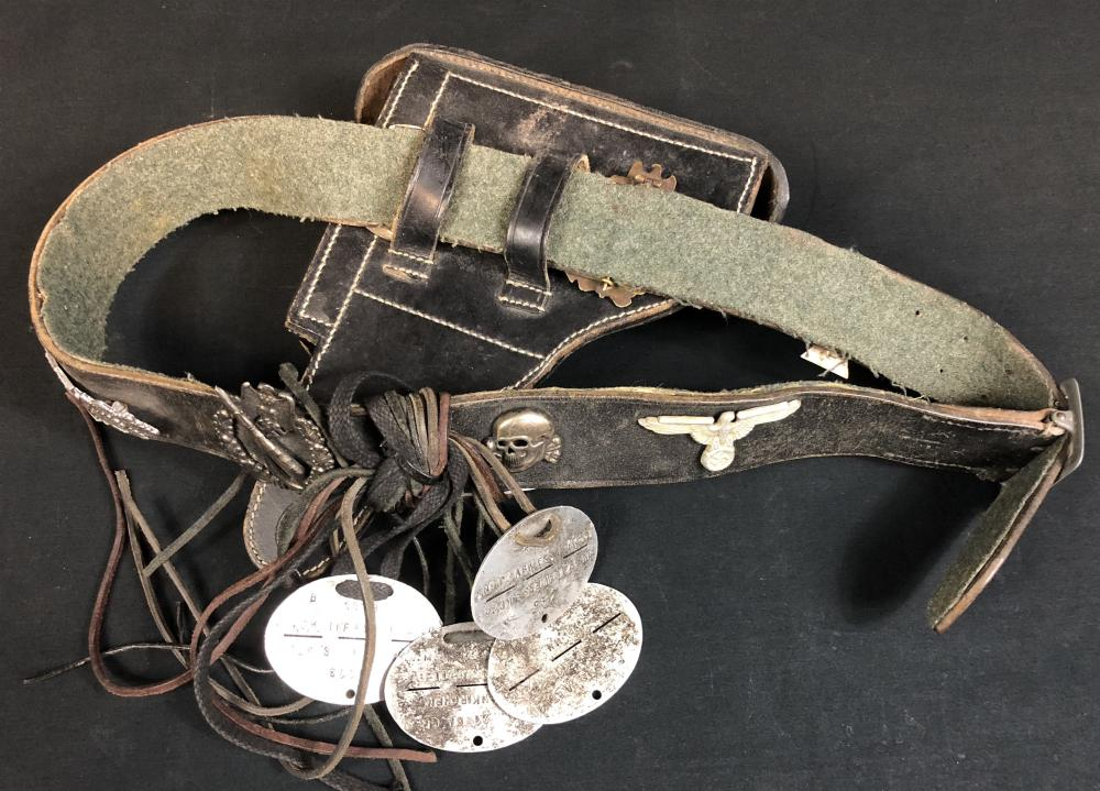 """Inglourious Basterds (2009) - Cpl. Wilhelm Wicki """"Gedeon Burkhard"""" Belt with ID Dog-tags and Badges"""