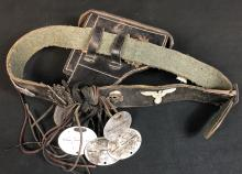 "Lot 72: Inglourious Basterds (2009) - Cpl. Wilhelm Wicki ""Gedeon Burkhard"" Belt with ID Dog-tags and Badges"