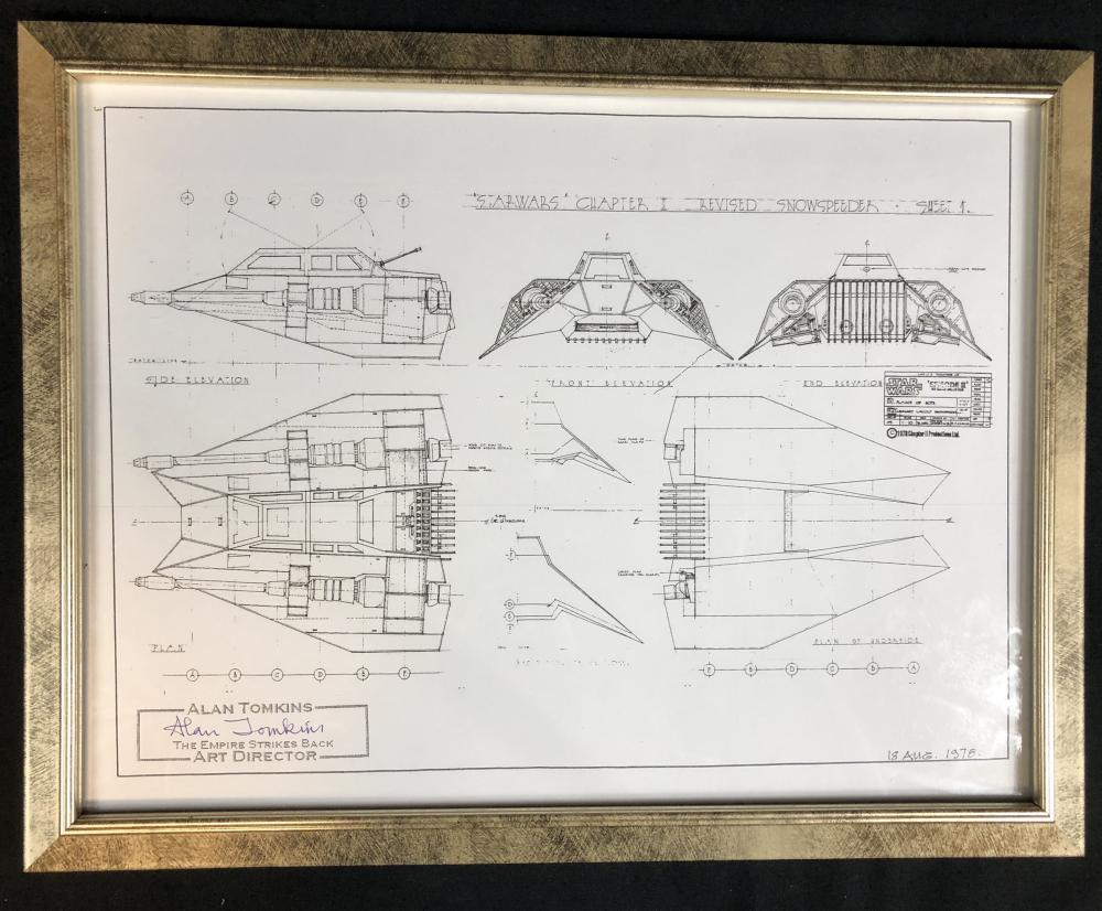 Star Wars: Episode V - The Empire Strikes Back (1980) - Alan Jenkins (Art Director) Signed Snowspeeder Print