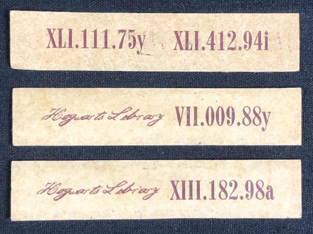 Harry Potter Film Series - 3 Hogwarts Library Book Shelf labels