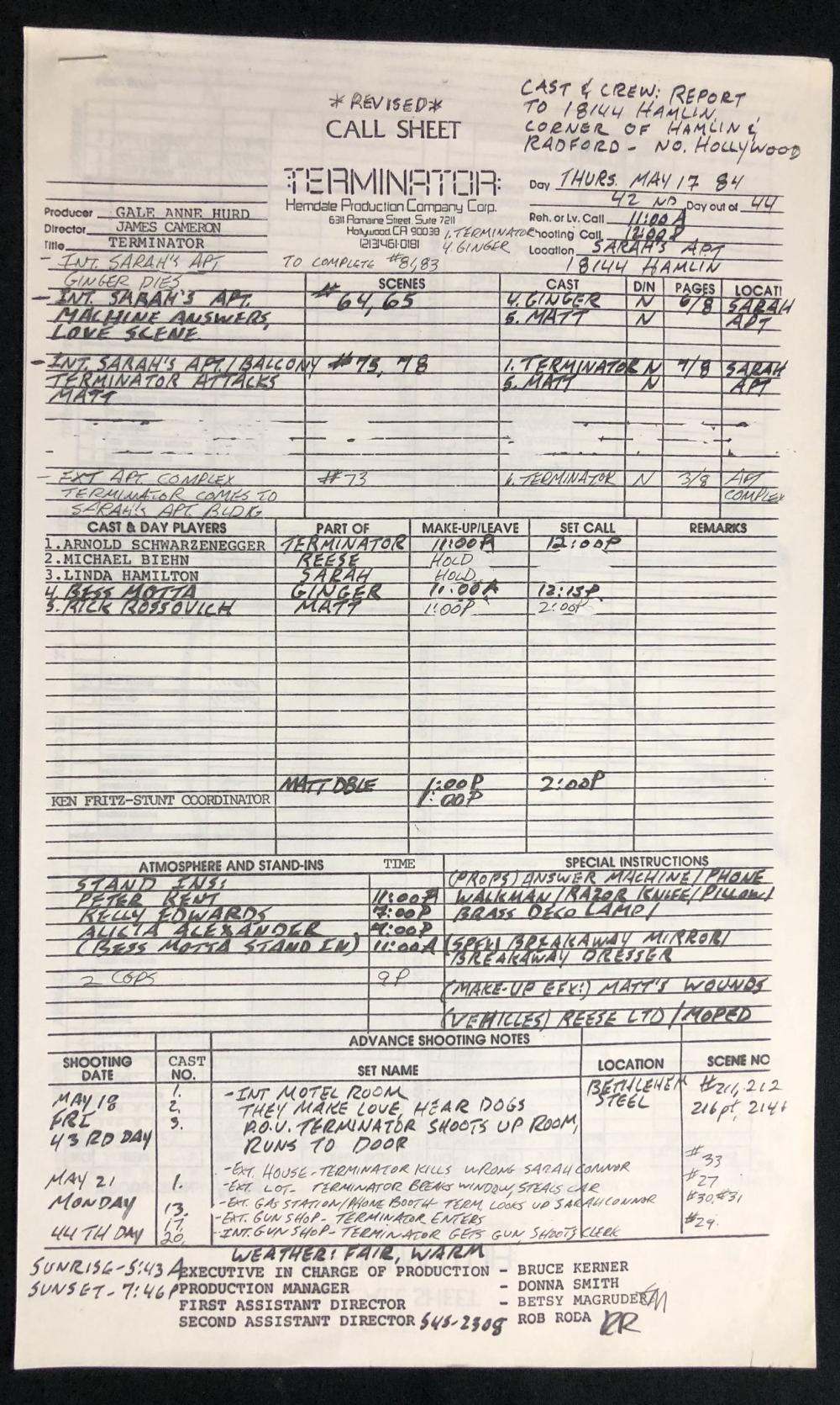 Lot 121: The Terminator (1984) - Original Call Sheet - 5-17-84
