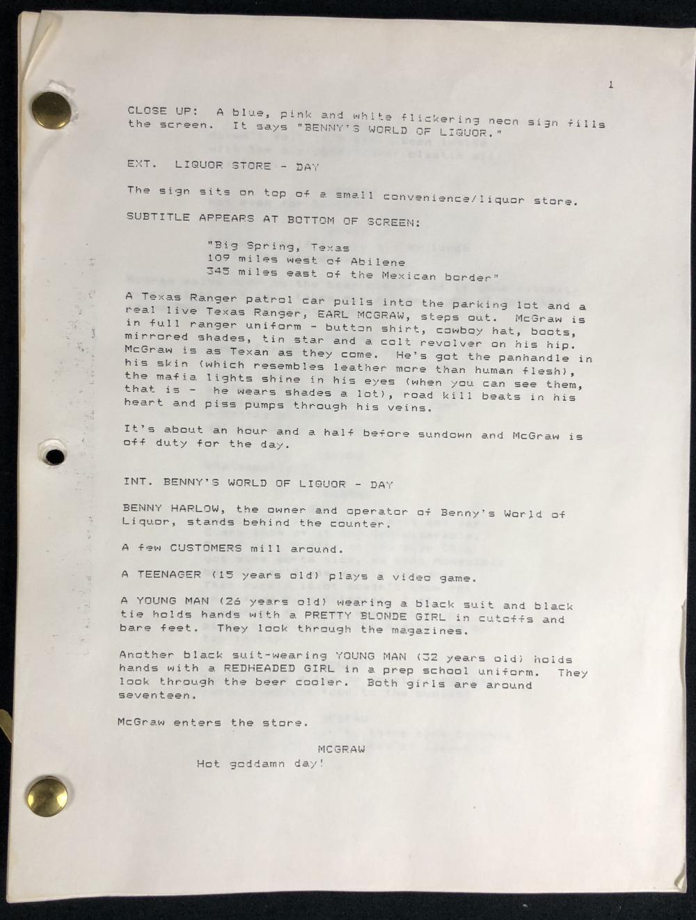 From Dusk Till Dawn (1996) - Historic Quentin Tarantino Original Script Copy Of The First Draft