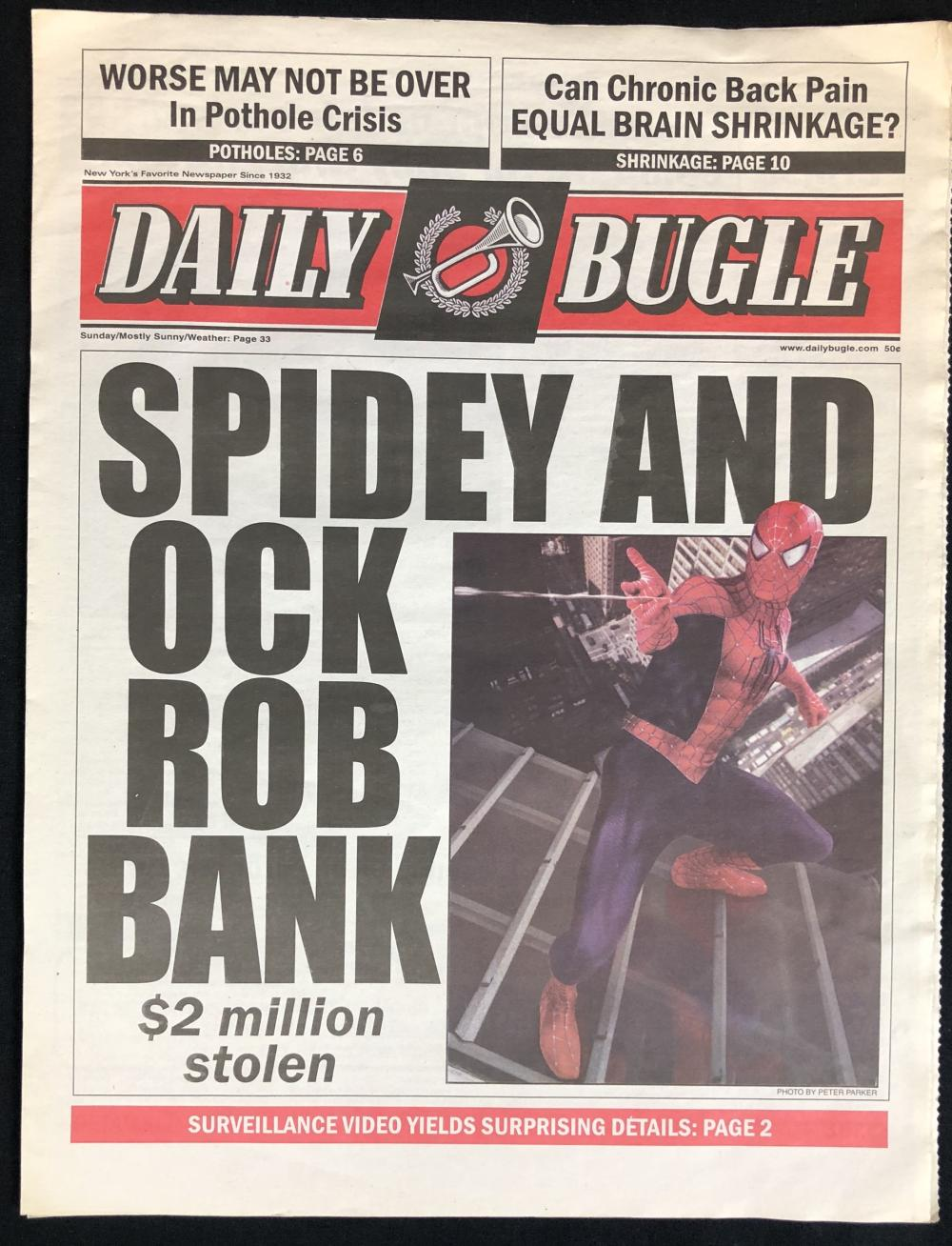 Lot 130: Spider-Man 2 (2004) - Daily Bugle Newspaper Prop - Spidey And Ock Rob Bank