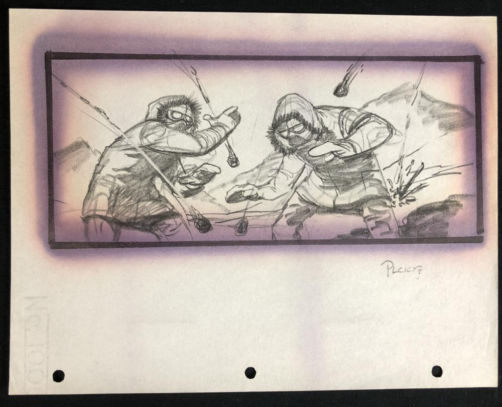 The Thing (1982) - Hand Drawn Storyboard - Explosion Guys