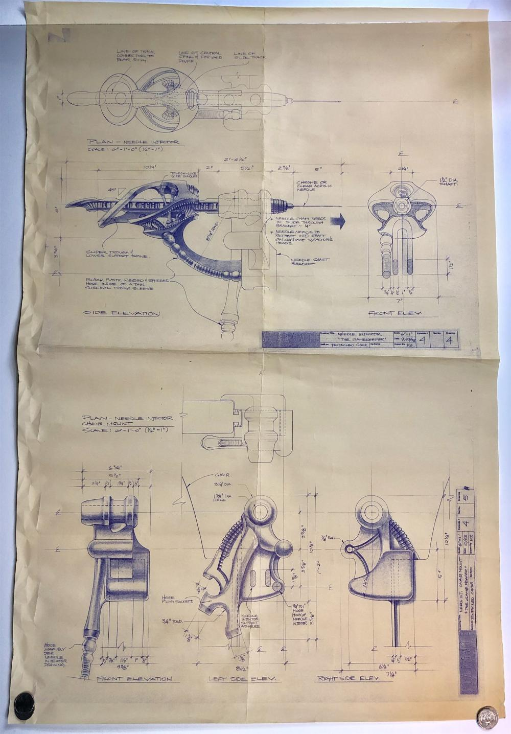 """Lot 185: Stargate SG-1 (1997–2007) - Original Production Blueprint """"Needle Injector"""" from The Gamekeeper"""