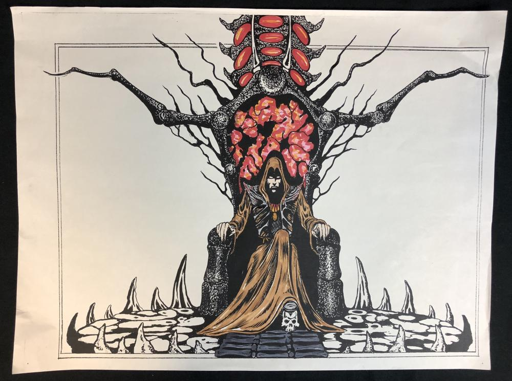 Lot 196: Wishmaster (1997) - Djinn On His Throne Chair Concept Artwork