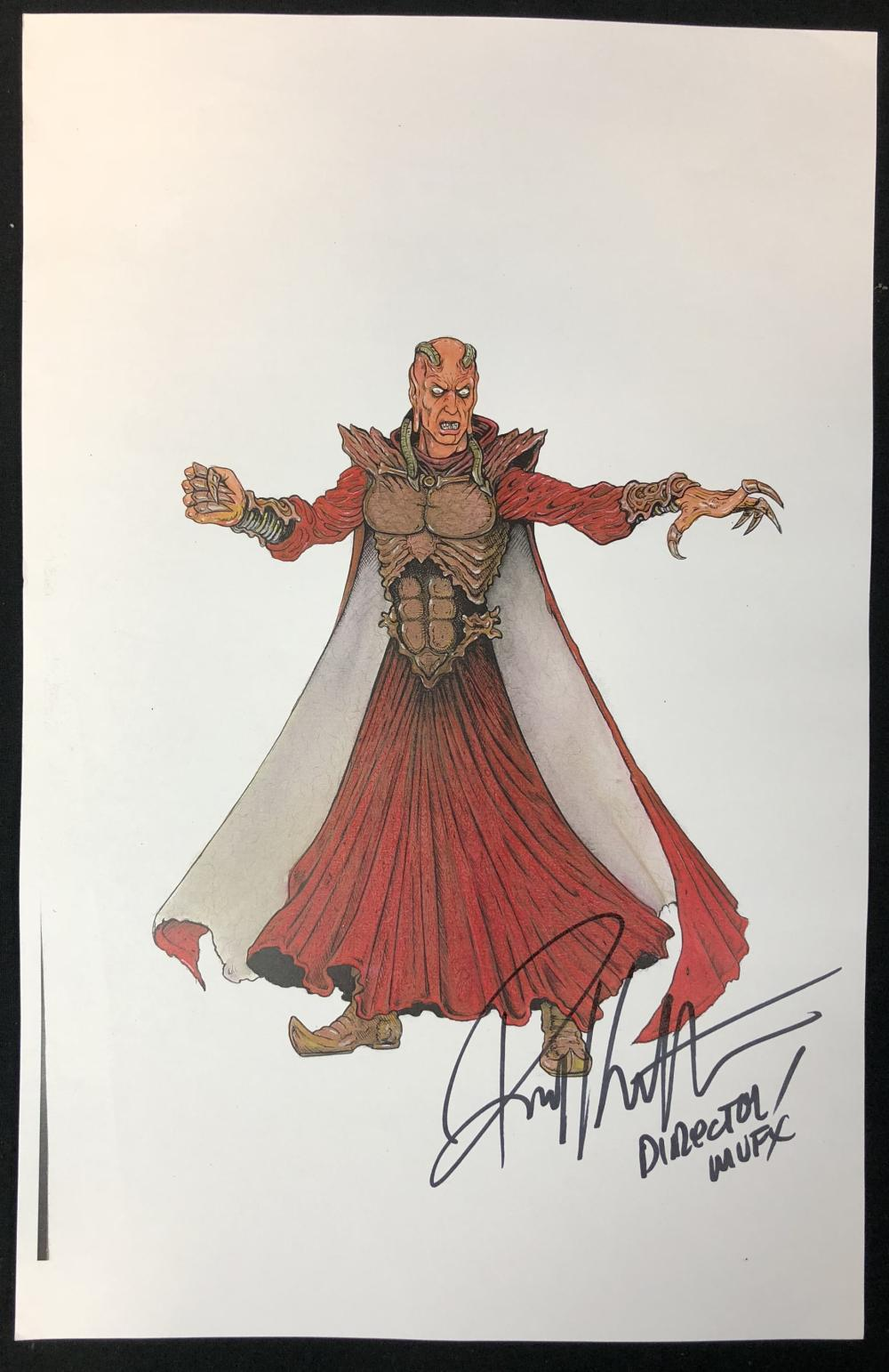 Lot 195: Wishmaster (1997) - Djinn Color Concept Artwork Signed by Director Robert Kurtzman