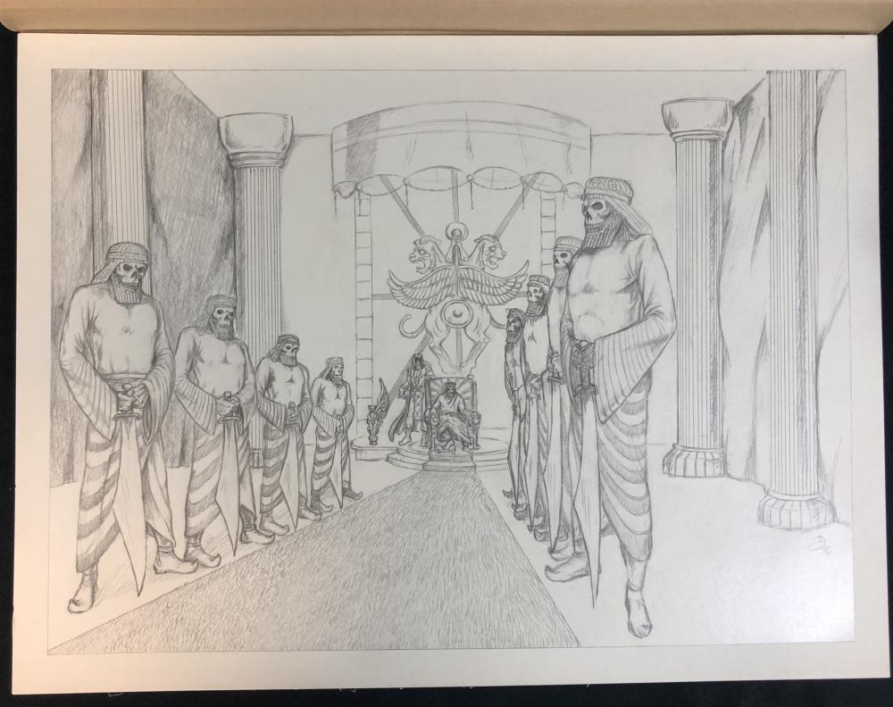 Lot 197: Wishmaster (1997) - Throne Room With Djinn Warriors Concept Artwork