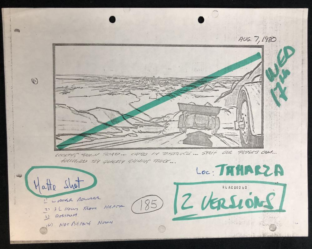 Lot 198: Raiders of the Lost Ark (1981) - Original Production Used Storyboard Copy With Handwritten Notes