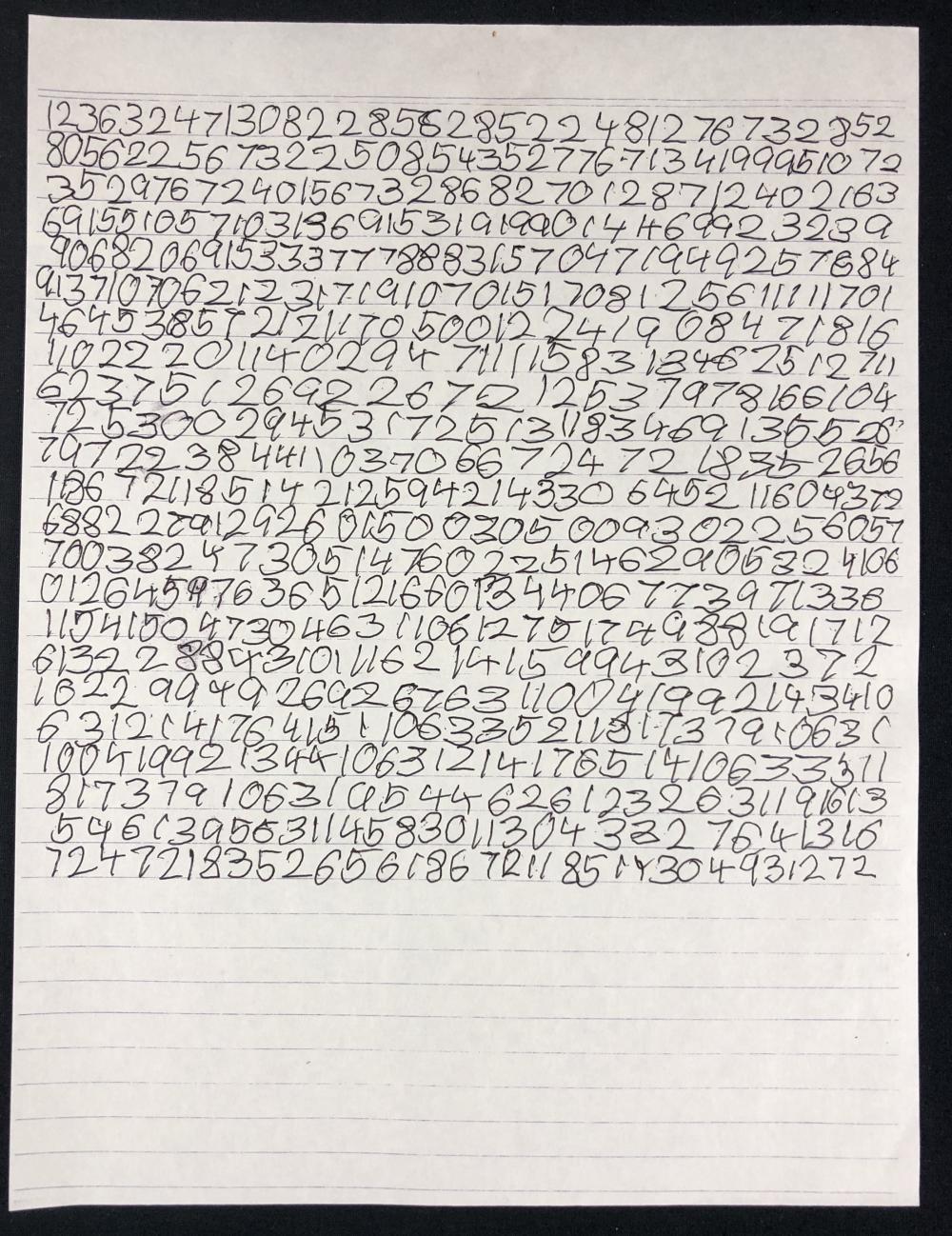Knowing (2009) - Caleb Koestler List of Numbers