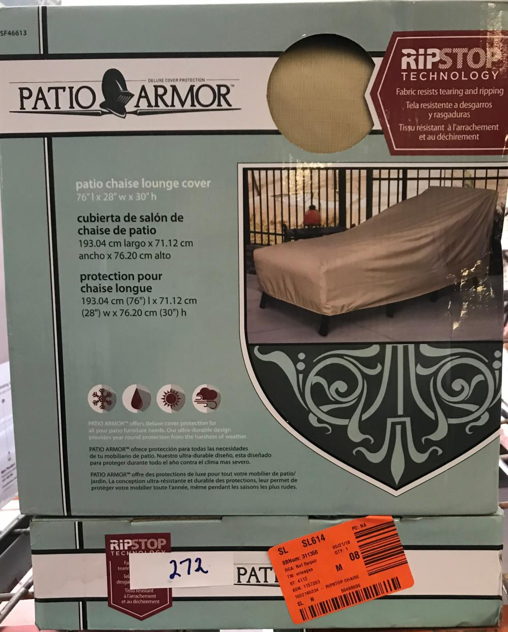 2 Patio Armor Patio Chaise Lounge Cover