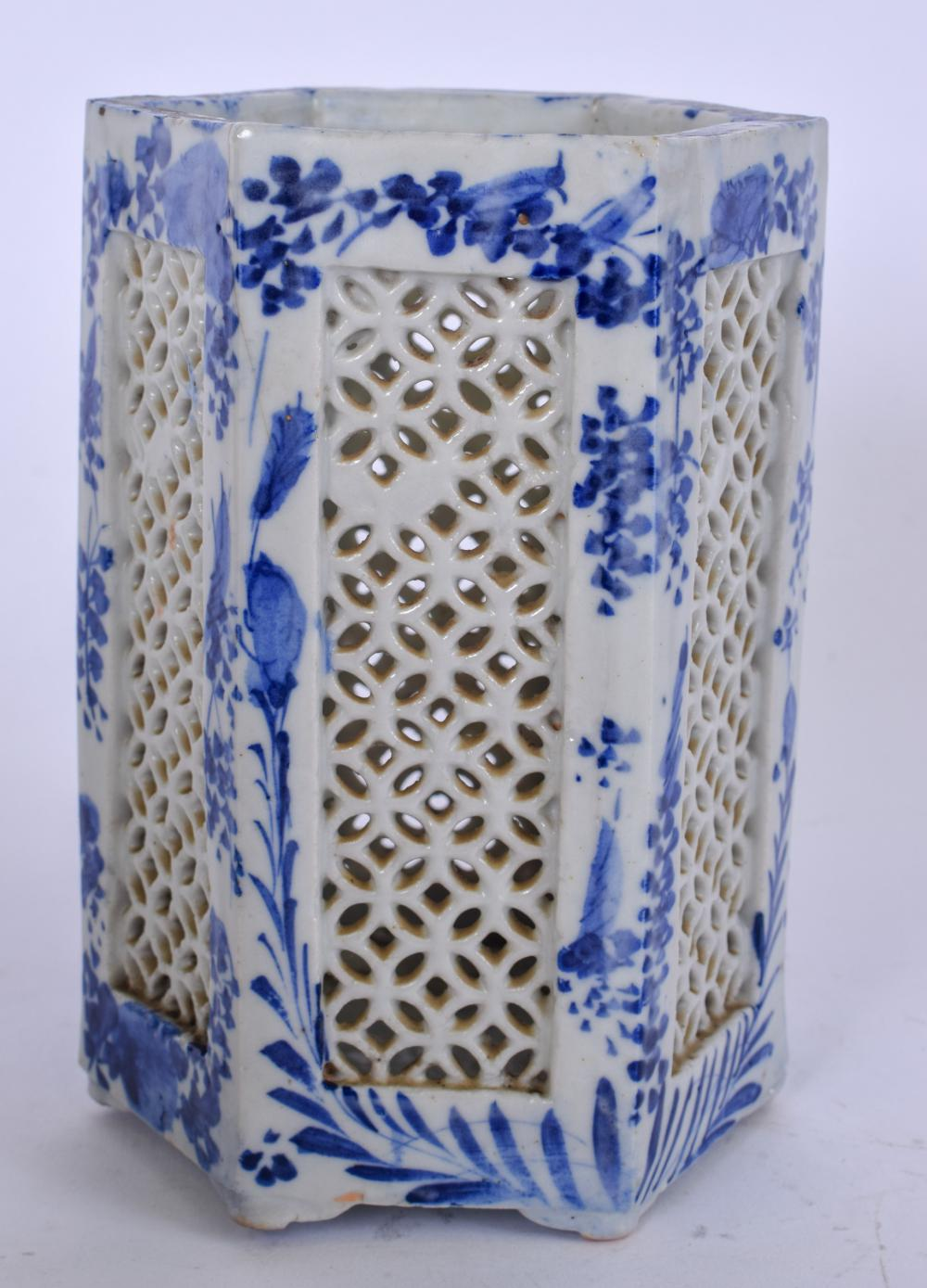 AN EARLY 8TH CENTURY JAPANESE BLUE AND WHITE PORCELAIN PLANTER