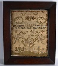AN EARLY 19TH CENTURY FRAMED SAMPLER decorated with a poem, birds and