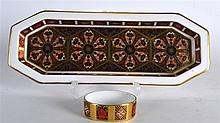A ROYAL CROWN DERBY RECTANGULAR DISH together with a smaller crown Der