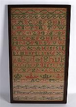A FRAMED EARLY 19TH CENTURY SAMPLER by Karen Cuningham C1807. 9.5ins x