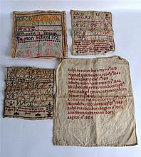 A GROUP OF FOUR 19TH/20TH CENTURY UNFRAMED SAMPLERS of various designs