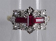 A 9CT RUBY AND DIAMOND DECO STYLE RING.