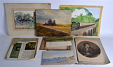 A GROUP OF WATERCOLOURS AND PRINTS, unframed, rural scenes amongst oth