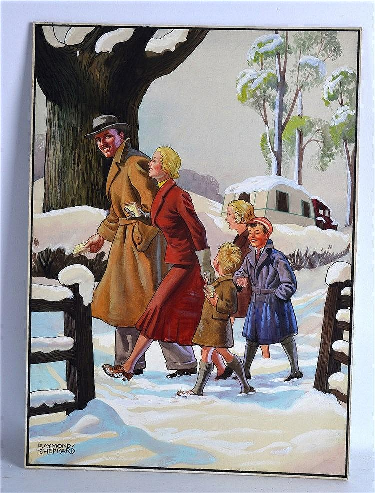 Raymond Sheppard (1913-1958) Watercolour on board, 'Snowy Walk'. 1Ft x