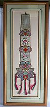 AN EARLY 20TH CENTURY CHINESE FRAMED SILKWORK HANGING decorated with b