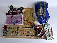 A COLLECTION OF VARIOUS ANTIQUE CHINESE SILKWORKS including shoes etc.
