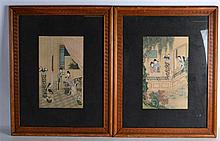 A GOOD PAIR OF 19TH CENTURY CHINESE FRAMED SILKWORKS possibly earlier,