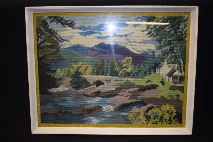 ANDY WILLIAMS (b1968), framed cross stitch embroidery, building in a mounta
