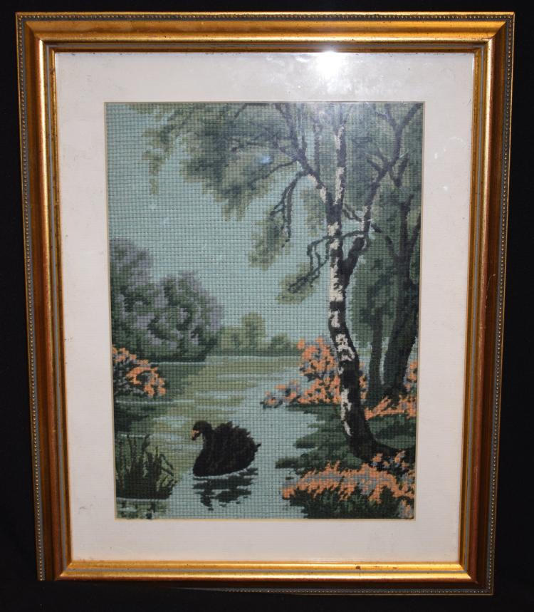 ANDY WILLIAMS (b1968), framed cross stitch embroidery, black swan in a rive