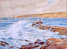 HENRY MEYNELL RHEAM (1859-1920), framed watercolour, signed, crashing waves
