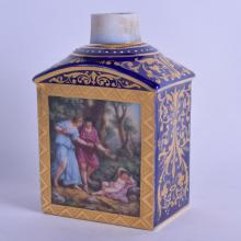 A LATE 19TH CENTURY VIENNA PORCELAIN TEA CADDY painted with figures within landscapes. 14.5 cm high.