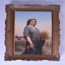 A GOOD 19TH CENTURY VIENNA FRAMED PORCELAIN PLAQUE painted with Ruth standing within the corn field. Plaque 20 cm x 33 cm.