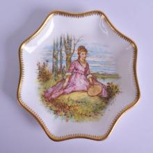 Coalport lobed tray painted with a girl seated beside a lake holding a fan, Blue crown Coalport mark