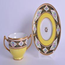 19th c. rare Coalport yellow ground Church Gresley pattern both bowl and stand painted with flowers in diamond shaped panels