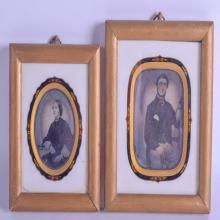 TWO UNUSUAL DAGUERREOTYPES within enamelled frames. Each image 8 cm x 9.5 cm & 9 cm x 10.5 cm. (2)
