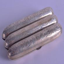AN ANTIQUE STERLING SILVER CIGAR CASE decorated with scrolling foliage. 2.9 oz. 12 cm x 5.5 cm.