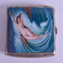 AN ART NOUVEAU SILVER PLATED ALPACCA ENAMEL CIGARETTE CASE painted with a nude female within waves. 8.5 cm x 7.5 cm.