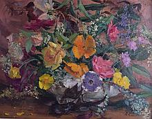 PETER RASMUSSEN, Framed Oil on Board, study of flowers, signed with initial