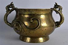 A GOOD 19TH CENTURY CHINESE TWIN HANDLED BRONZE CENSER bearing Xuande marks