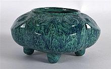 A CHINESE ROBINS EGG GLAZED LOBED BRUSH WASHER of naturalistic form, decora