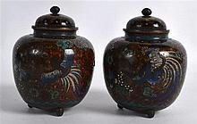 A PAIR OF EARLY 20TH CENTURY JAPANESE MEIJI PERIOD CLOISONNE ENAMEL VASES