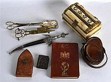 A TURNBULL & CO OF EDINBURGH LEATHER CASED COMPASS together with a white me