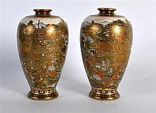A FINE PAIR OF EARLY 20TH CENTURY JAPANESE MEIJI PERIOD SATSUMA VASES possi