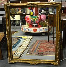 A 19TH CENTURY GILTWOOD MIRROR. 3ft 7ins x 3ft