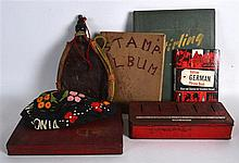 A BOX OF VARIOUS STAMP ALBUMS together with an Edwardian wool hat etc. (qty