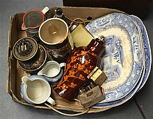 A 19TH CENTURY ENGLISH BLUE AND WHITE MEAT PLATTER together with other porc