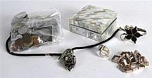 A VINTAGE CARVED MOTHER OF PEARL BOX together with various World coinage et